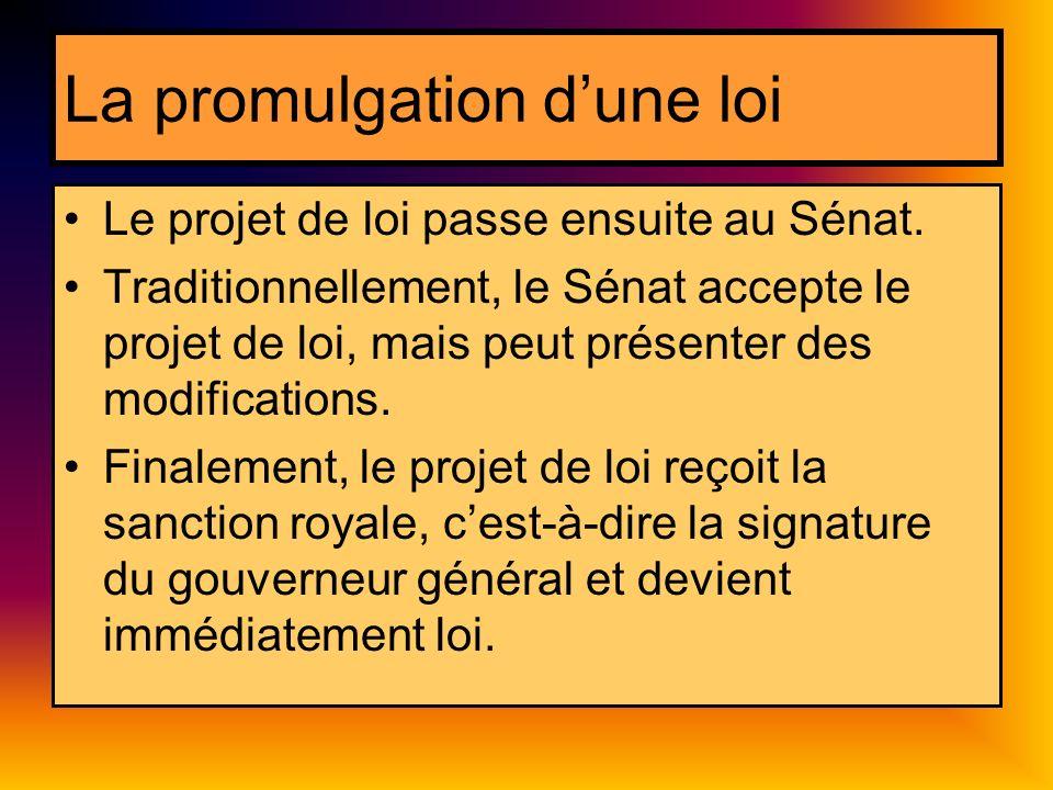 La promulgation dune loi Le projet de loi passe ensuite au Sénat. Traditionnellement, le Sénat accepte le projet de loi, mais peut présenter des modif