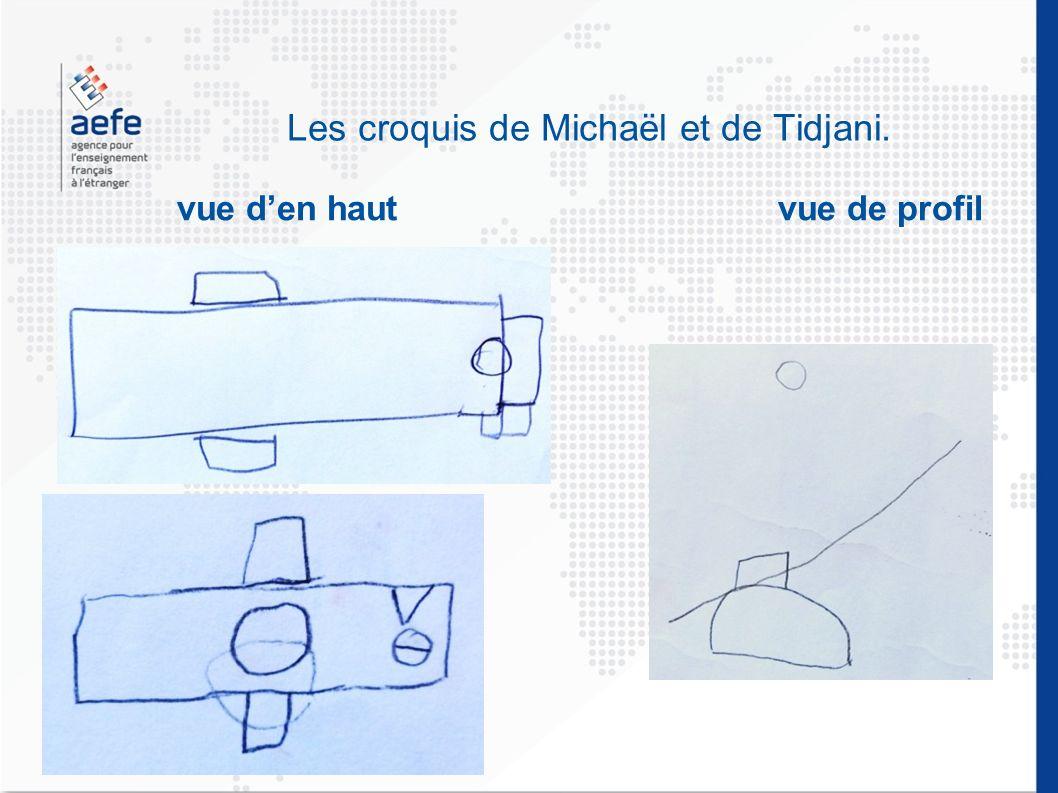 Les croquis de Michaël et de Tidjani. vue den haut vue de profil