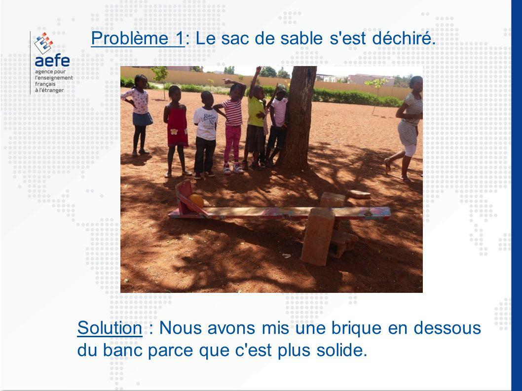 Problème 1: Le sac de sable s'est déchiré. Solution : Nous avons mis une brique en dessous du banc parce que c'est plus solide.
