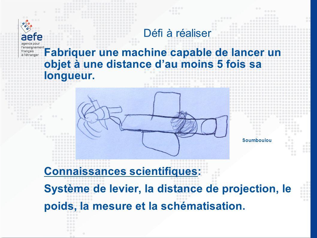 Défi à réaliser Fabriquer une machine capable de lancer un objet à une distance dau moins 5 fois sa longueur. Soumboulou Connaissances scientifiques: