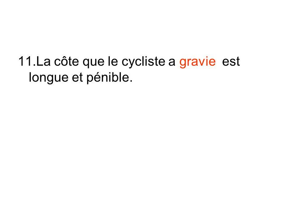 11.La côte que le cycliste a gravie est longue et pénible.