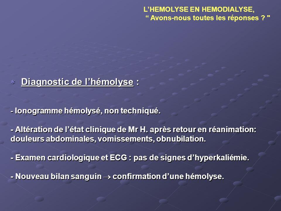 Diagnostic de lhémolyse : Diagnostic de lhémolyse : - Ionogramme hémolysé, non techniqué. - Altération de létat clinique de Mr H. après retour en réan