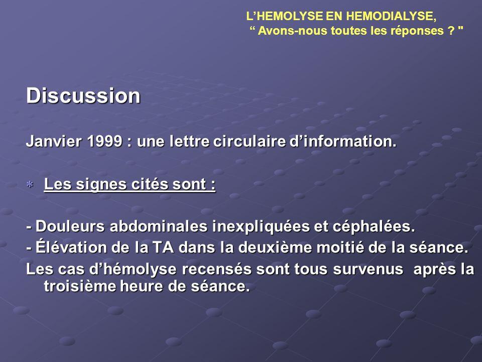 Discussion Janvier 1999 : une lettre circulaire dinformation. Les signes cités sont : Les signes cités sont : - Douleurs abdominales inexpliquées et c