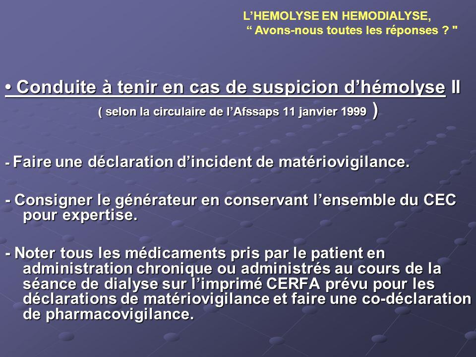 Conduite à tenir en cas de suspicion dhémolyse II Conduite à tenir en cas de suspicion dhémolyse II ( selon la circulaire de lAfssaps 11 janvier 1999