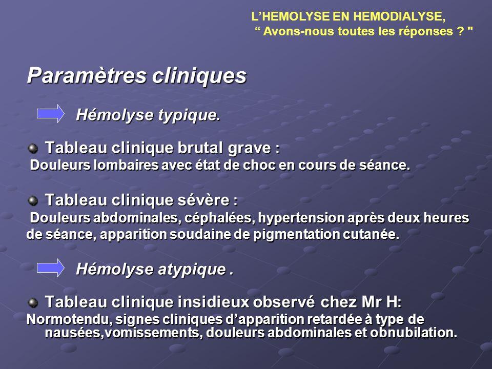 Paramètres cliniques Hémolyse typique. Tableau clinique brutal grave : Douleurs lombaires avec état de choc en cours de séance. Douleurs lombaires ave