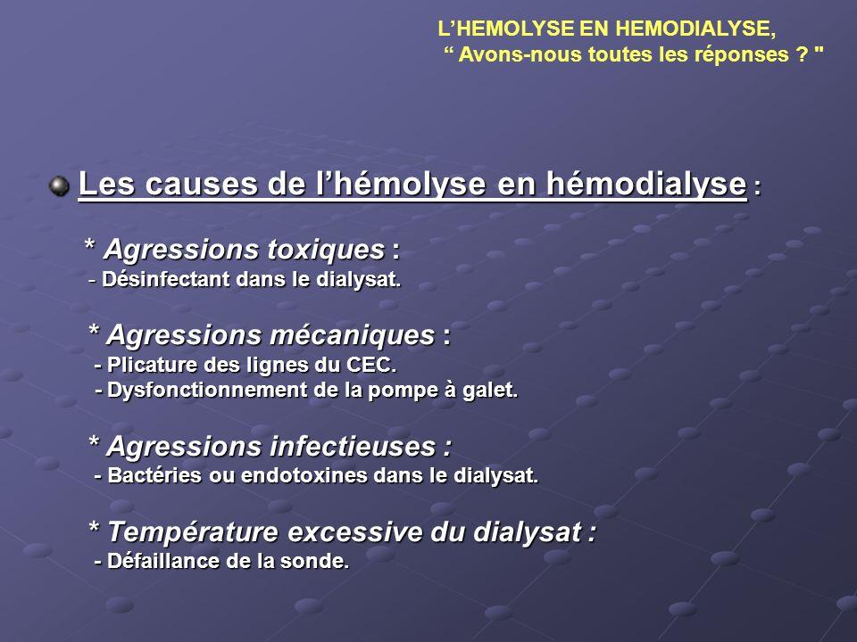 Les causes de lhémolyse en hémodialyse : * Agressions toxiques : * Agressions toxiques : - Désinfectant dans le dialysat. * Agressions mécaniques : -