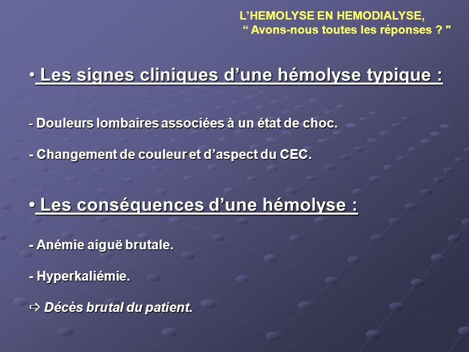 Les signes cliniques dune hémolyse typique : Les signes cliniques dune hémolyse typique : - Douleurs lombaires associées à un état de choc. - Changeme