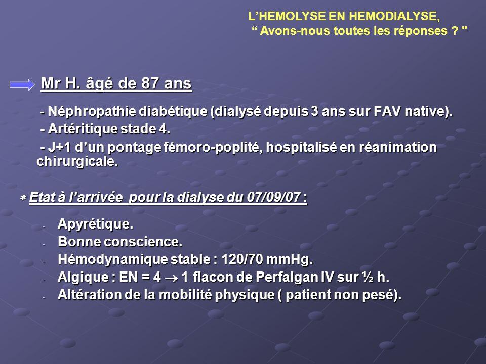 Analyse et questionnement Perplexité de léquipe devant le diagnostic tardif de lhémolyse prise en charge inadaptée de Mr H.