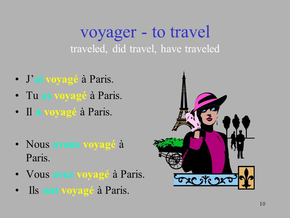 10 voyager - to travel traveled, did travel, have traveled Jai voyagé à Paris. Tu as voyagé à Paris. Il a voyagé à Paris. Nous avons voyagé à Paris. V