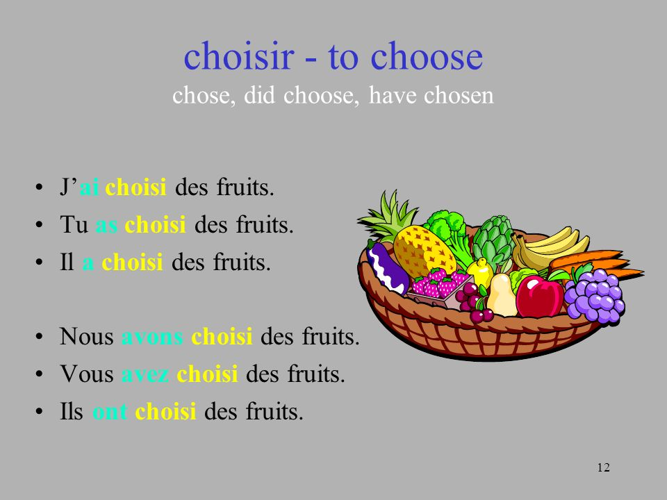 12 choisir - to choose chose, did choose, have chosen Jai choisi des fruits. Tu as choisi des fruits. Il a choisi des fruits. Nous avons choisi des fr
