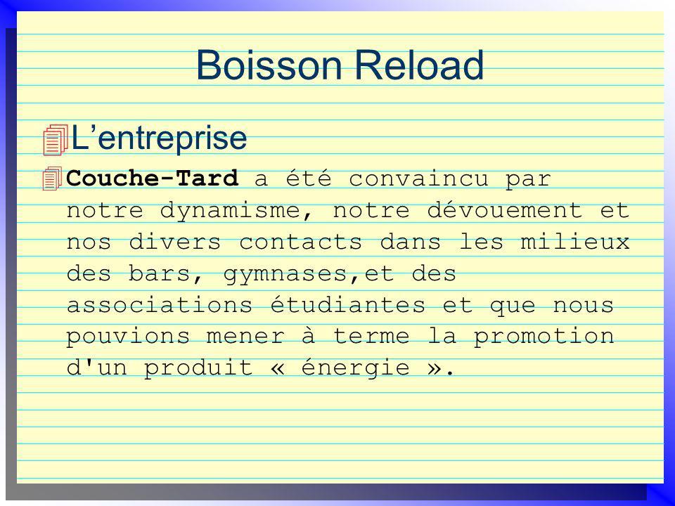 Boisson Reload Lentreprise 4 Couche-Tard a été convaincu par notre dynamisme, notre dévouement et nos divers contacts dans les milieux des bars, gymnases,et des associations étudiantes et que nous pouvions mener à terme la promotion d un produit « énergie ».