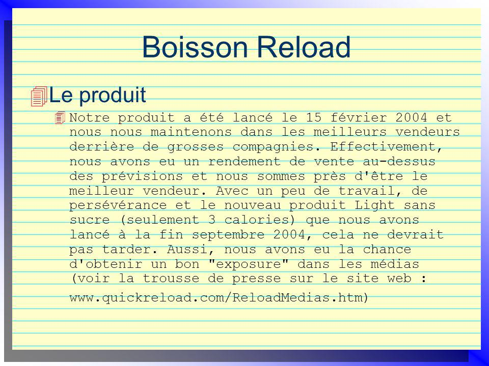 Boisson Reload Le produit 4 Notre produit a été lancé le 15 février 2004 et nous nous maintenons dans les meilleurs vendeurs derrière de grosses compagnies.