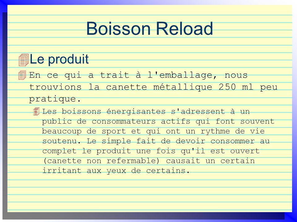 Boisson Reload Le produit 4 En ce qui a trait à l emballage, nous trouvions la canette métallique 250 ml peu pratique.