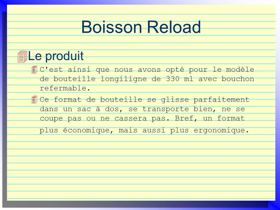 Boisson Reload Le produit 4 C est ainsi que nous avons opté pour le modèle de bouteille longiligne de 330 ml avec bouchon refermable.