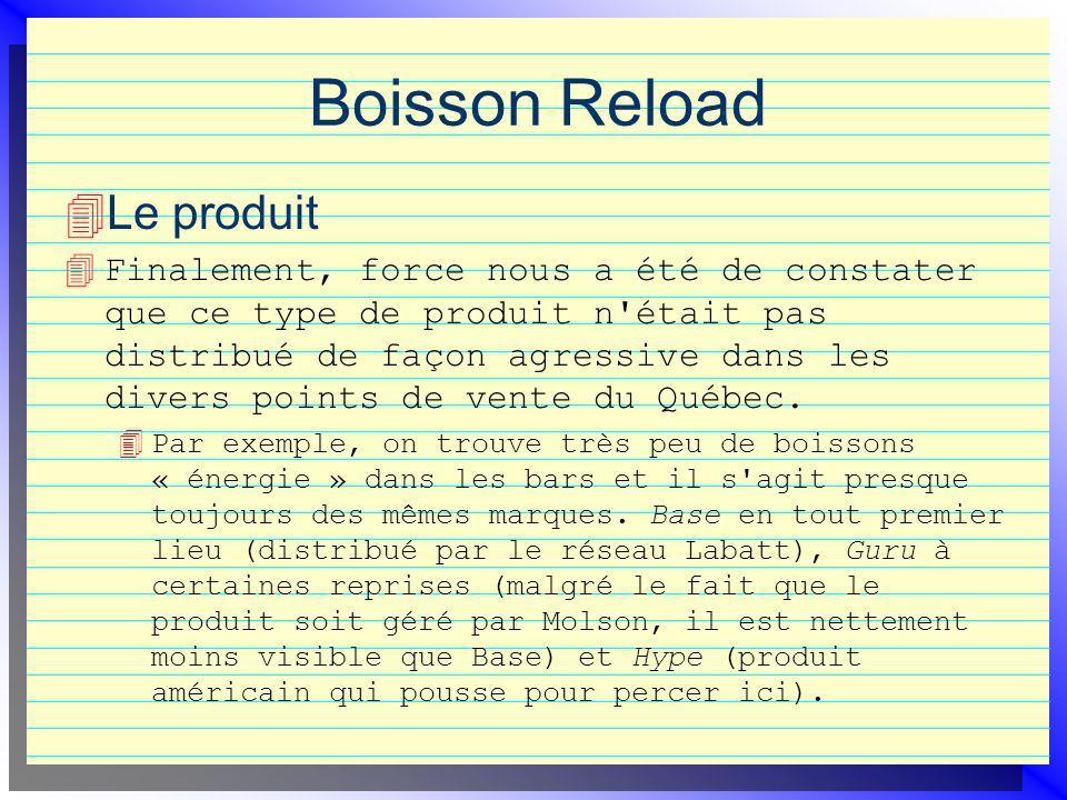 Boisson Reload Le produit 4 Finalement, force nous a été de constater que ce type de produit n était pas distribué de façon agressive dans les divers points de vente du Québec.