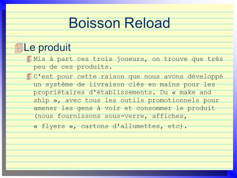 Boisson Reload Le produit 4 Mis à part ces trois joueurs, on trouve que très peu de ces produits. 4 C'est pour cette raison que nous avons développé u