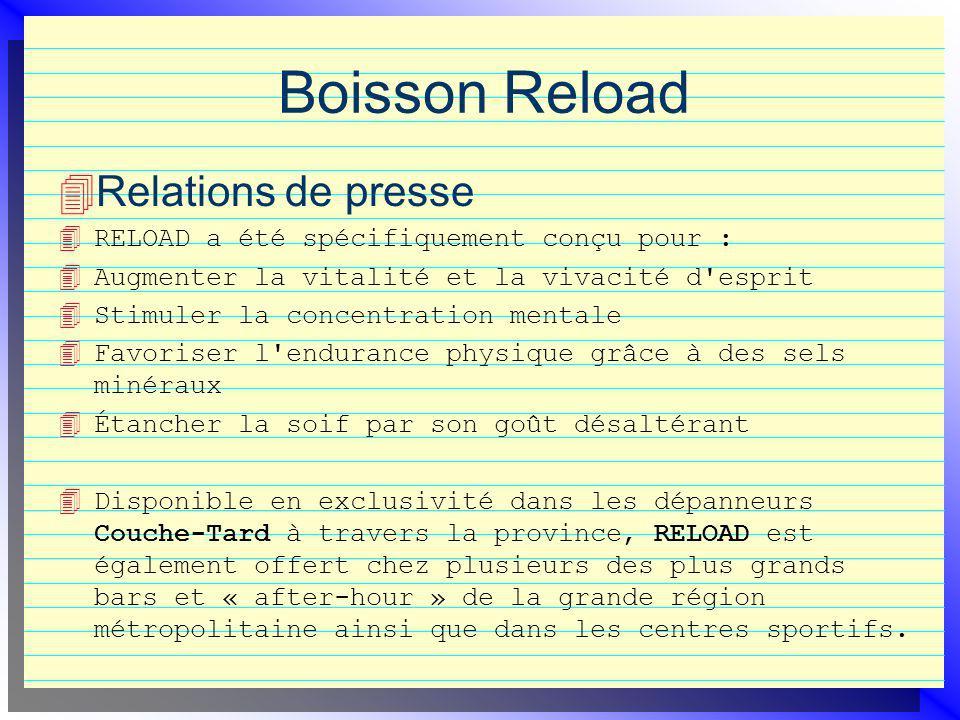 Boisson Reload Relations de presse 4 RELOAD a été spécifiquement conçu pour : 4 Augmenter la vitalité et la vivacité d'esprit 4 Stimuler la concentrat