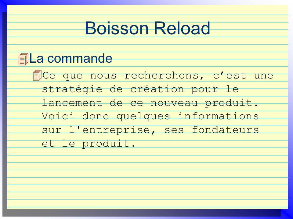 Boisson Reload La commande 4 Ce que nous recherchons, cest une stratégie de création pour le lancement de ce nouveau produit. Voici donc quelques info