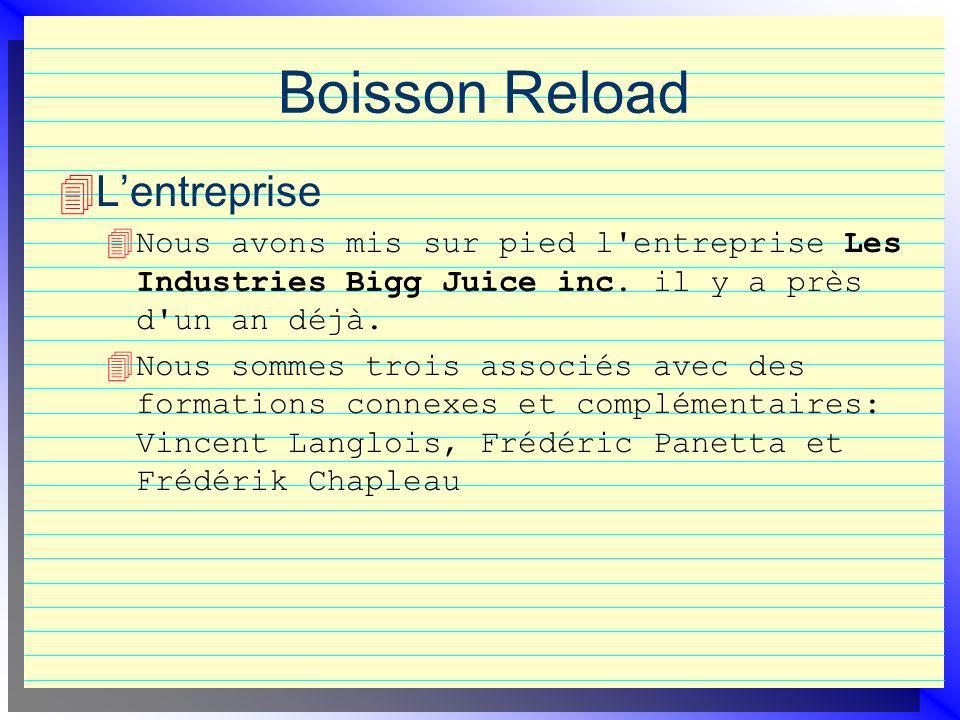 Boisson Reload Lentreprise 4 Nous avons mis sur pied l'entreprise Les Industries Bigg Juice inc. il y a près d'un an déjà. 4 Nous sommes trois associé