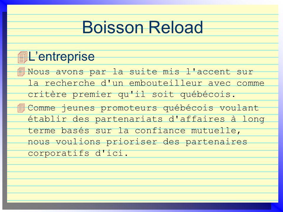 Boisson Reload Lentreprise 4 Nous avons par la suite mis l'accent sur la recherche d'un embouteilleur avec comme critère premier qu'il soit québécois.
