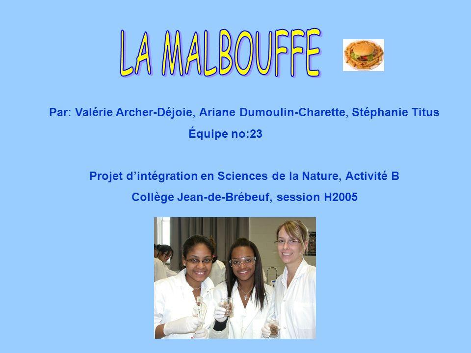 Par: Valérie Archer-Déjoie, Ariane Dumoulin-Charette, Stéphanie Titus Équipe no:23 Projet dintégration en Sciences de la Nature, Activité B Collège Je