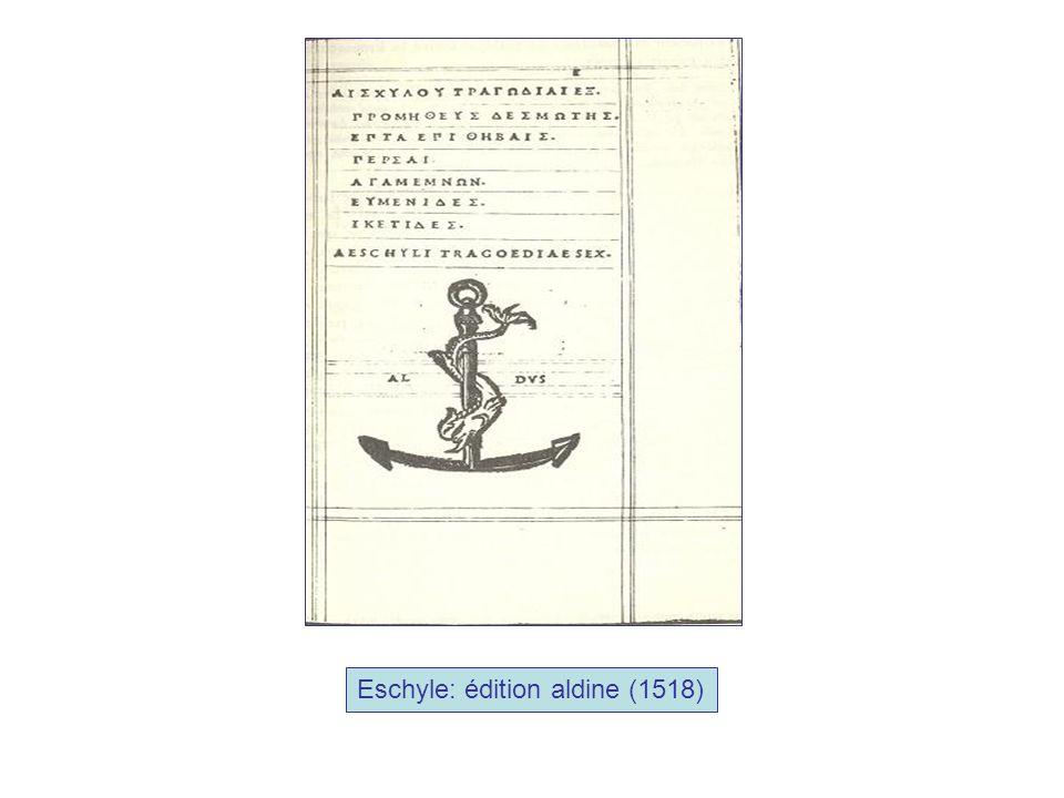 Eschyle: édition aldine (1518)
