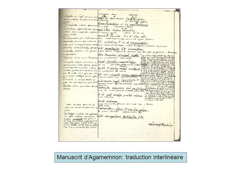 Manuscrit dAgamemnon: traduction interlinéaire