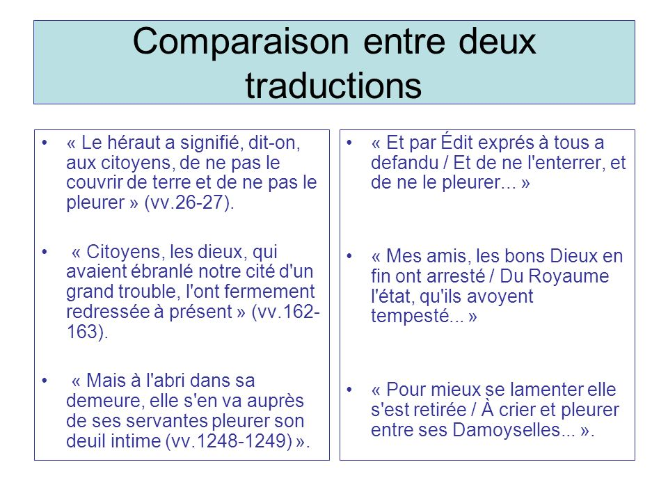 Comparaison entre deux traductions « Le héraut a signifié, dit-on, aux citoyens, de ne pas le couvrir de terre et de ne pas le pleurer » (vv.26-27). «