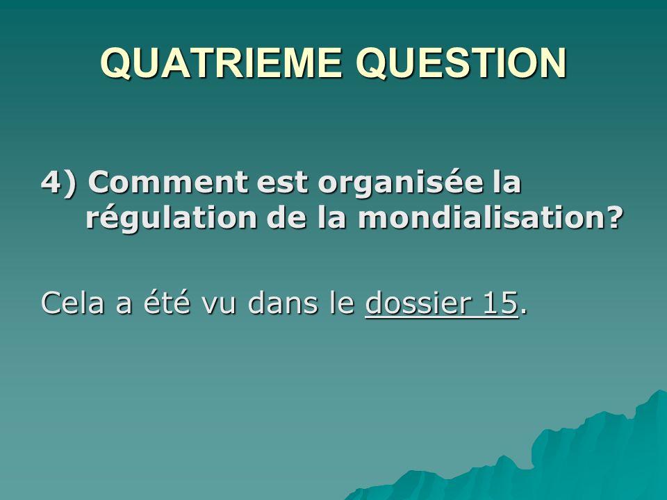 QUATRIEME QUESTION 4) Comment est organisée la régulation de la mondialisation.