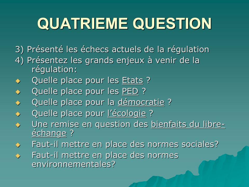 QUATRIEME QUESTION 3) Présenté les échecs actuels de la régulation 4) Présentez les grands enjeux à venir de la régulation: Quelle place pour les Etats .