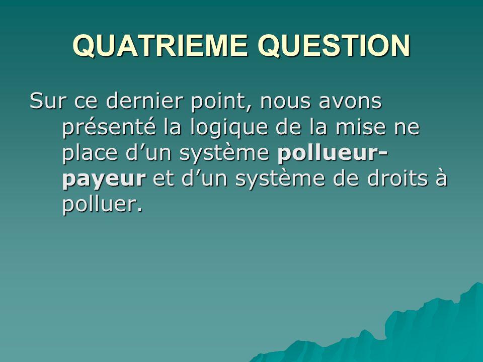 QUATRIEME QUESTION Sur ce dernier point, nous avons présenté la logique de la mise ne place dun système pollueur- payeur et dun système de droits à polluer.