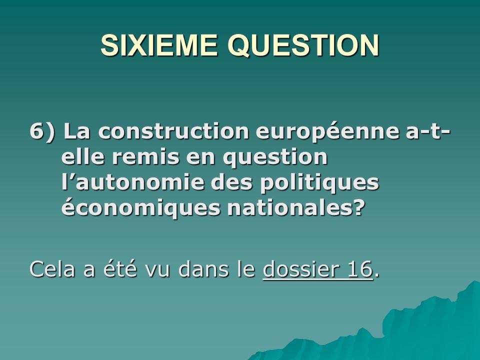 SIXIEME QUESTION 6) La construction européenne a-t- elle remis en question lautonomie des politiques économiques nationales.