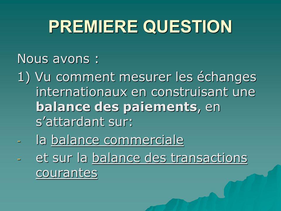 PREMIERE QUESTION Nous avons : 1) Vu comment mesurer les échanges internationaux en construisant une balance des paiements, en sattardant sur: - la balance commerciale - et sur la balance des transactions courantes