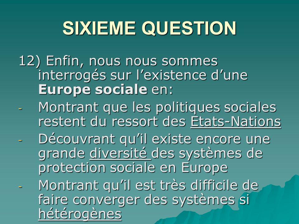 SIXIEME QUESTION 12) Enfin, nous nous sommes interrogés sur lexistence dune Europe sociale en: - Montrant que les politiques sociales restent du ressort des Etats-Nations - Découvrant quil existe encore une grande diversité des systèmes de protection sociale en Europe - Montrant quil est très difficile de faire converger des systèmes si hétérogènes