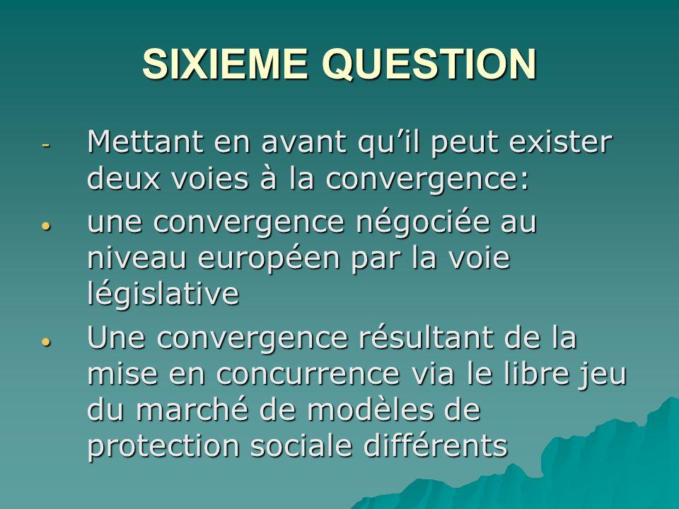 SIXIEME QUESTION - Mettant en avant quil peut exister deux voies à la convergence: une convergence négociée au niveau européen par la voie législative une convergence négociée au niveau européen par la voie législative Une convergence résultant de la mise en concurrence via le libre jeu du marché de modèles de protection sociale différents Une convergence résultant de la mise en concurrence via le libre jeu du marché de modèles de protection sociale différents