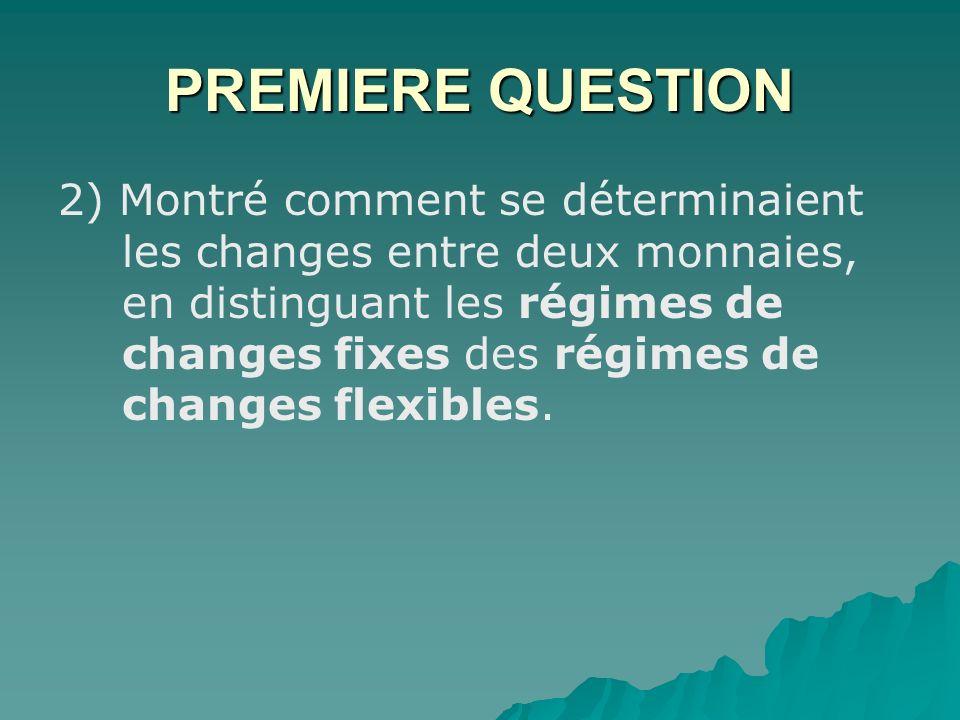 PREMIERE QUESTION 2) Montré comment se déterminaient les changes entre deux monnaies, en distinguant les régimes de changes fixes des régimes de changes flexibles.