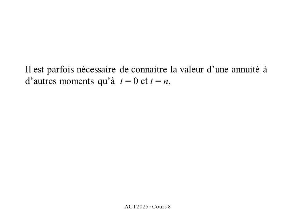 ACT2025 - Cours 8 Il est parfois nécessaire de connaitre la valeur dune annuité à dautres moments quà t = 0 et t = n.