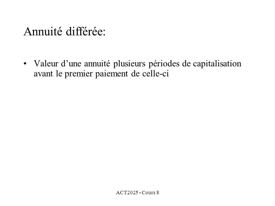 ACT2025 - Cours 8 Valeur dune annuité plusieurs périodes de capitalisation avant le premier paiement de celle-ci Annuité différée: