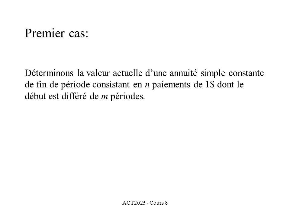 ACT2025 - Cours 8 Déterminons la valeur actuelle dune annuité simple constante de fin de période consistant en n paiements de 1$ dont le début est dif