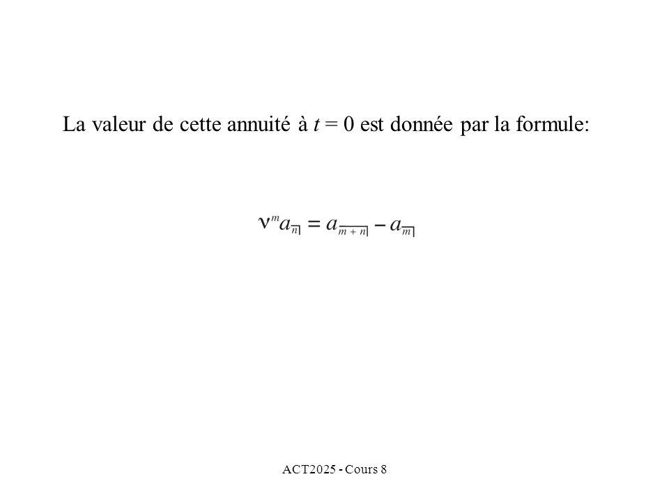 ACT2025 - Cours 8 La valeur de cette annuité à t = 0 est donnée par la formule: