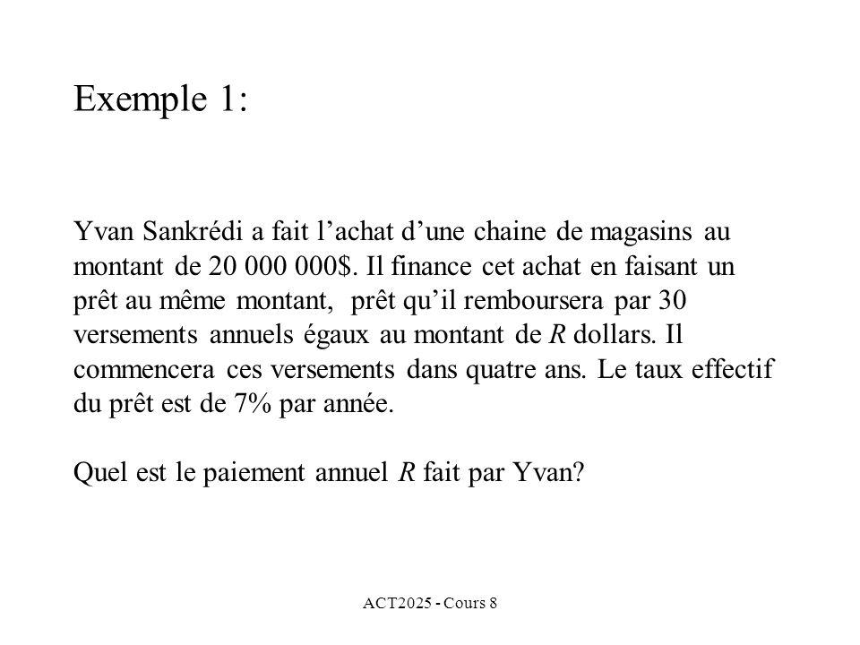 ACT2025 - Cours 8 Yvan Sankrédi a fait lachat dune chaine de magasins au montant de 20 000 000$. Il finance cet achat en faisant un prêt au même monta