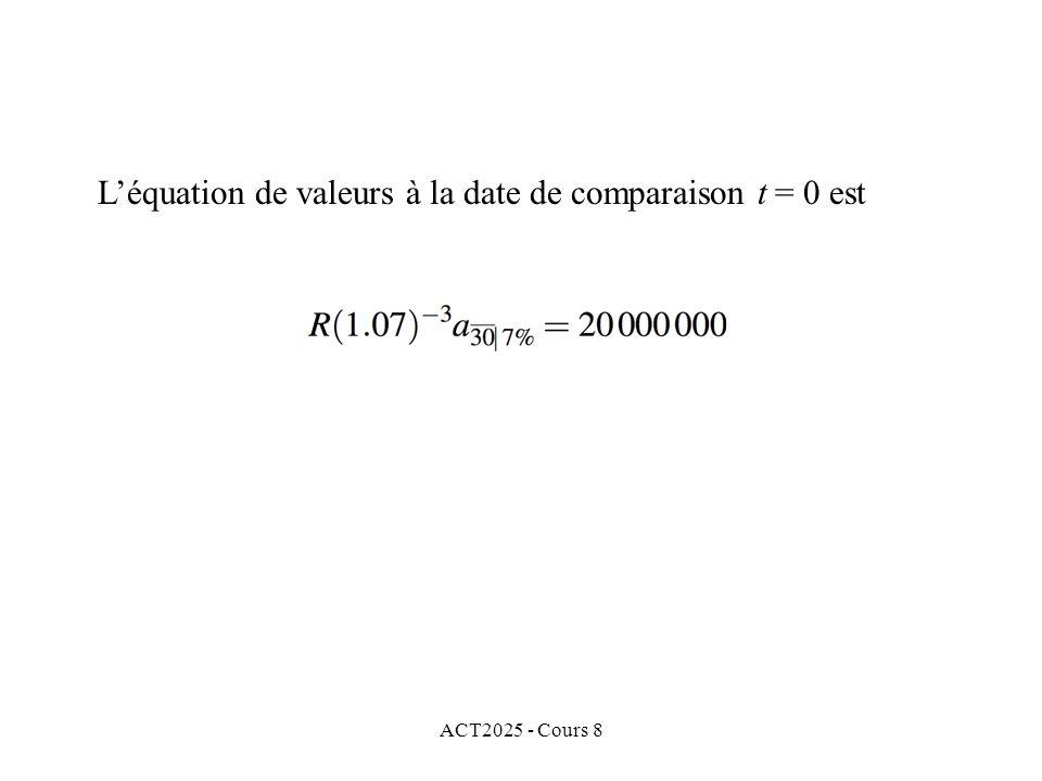 ACT2025 - Cours 8 Léquation de valeurs à la date de comparaison t = 0 est
