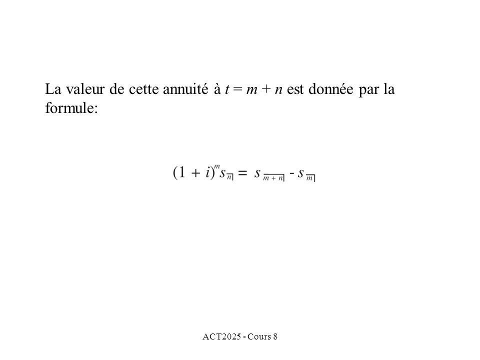 ACT2025 - Cours 8 La valeur de cette annuité à t = m + n est donnée par la formule: