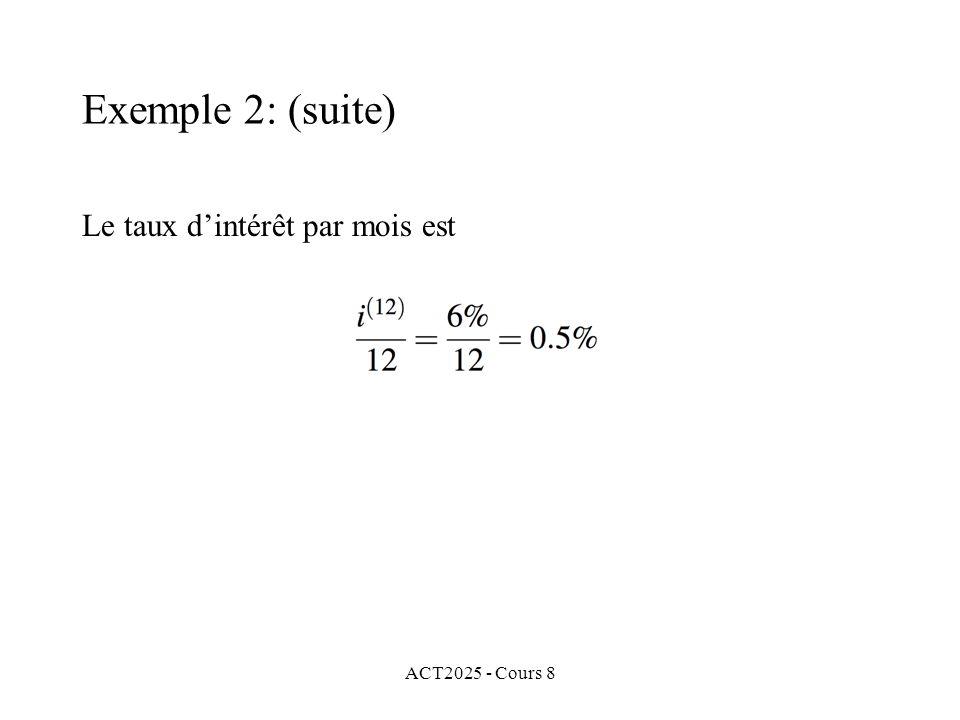 ACT2025 - Cours 8 Le taux dintérêt par mois est Exemple 2: (suite)