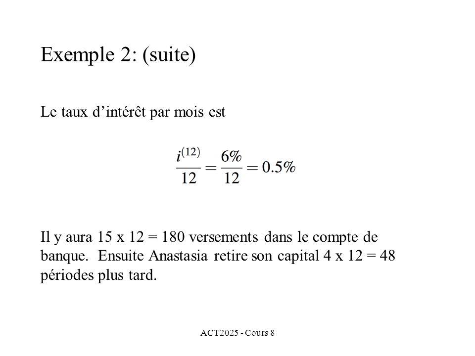 ACT2025 - Cours 8 Le taux dintérêt par mois est Il y aura 15 x 12 = 180 versements dans le compte de banque. Ensuite Anastasia retire son capital 4 x