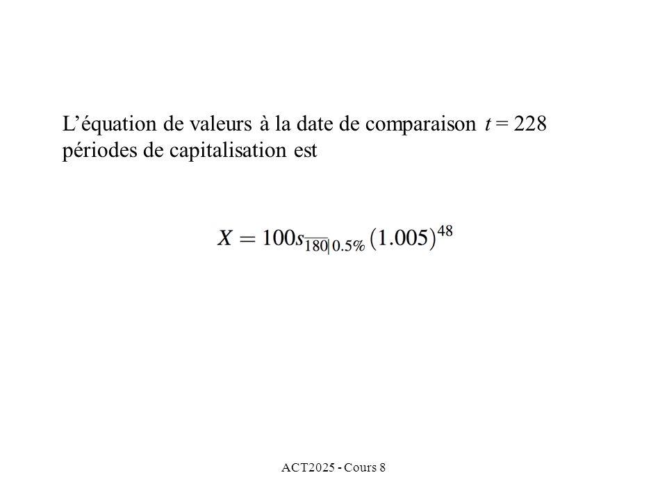 ACT2025 - Cours 8 Léquation de valeurs à la date de comparaison t = 228 périodes de capitalisation est