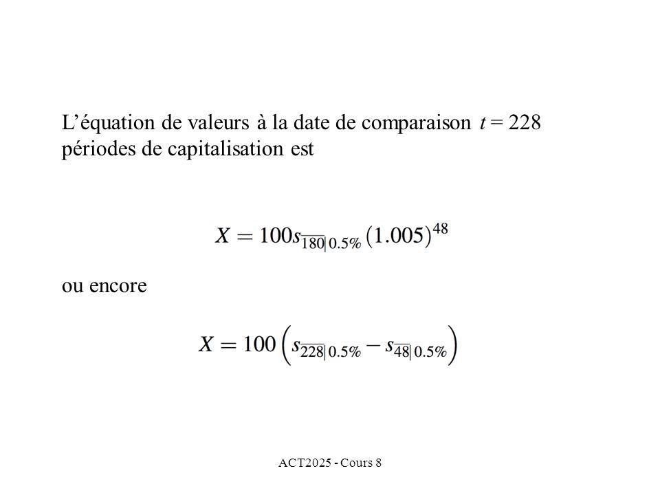 ACT2025 - Cours 8 ou encore Léquation de valeurs à la date de comparaison t = 228 périodes de capitalisation est