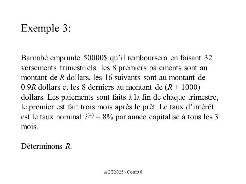 ACT2025 - Cours 8 Barnabé emprunte 50000$ quil remboursera en faisant 32 versements trimestriels: les 8 premiers paiements sont au montant de R dollar