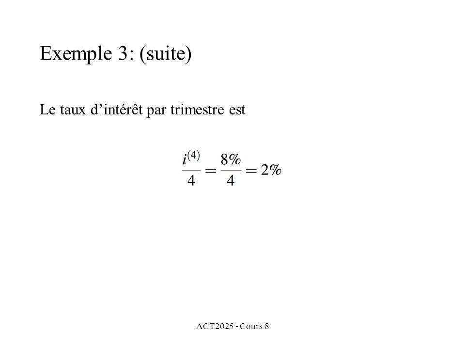 ACT2025 - Cours 8 Le taux dintérêt par trimestre est Exemple 3: (suite)