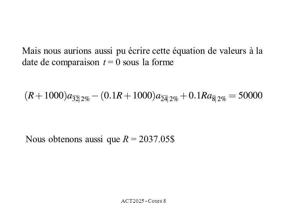ACT2025 - Cours 8 Mais nous aurions aussi pu écrire cette équation de valeurs à la date de comparaison t = 0 sous la forme Nous obtenons aussi que R =